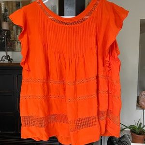 GAP Orange/Red Peasant Top Size M